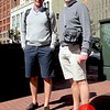 Photo by Lily Ko<br /> <br /> In This Scene:  Olivier Scius (left) and Jean Van Den Wouwer (right), on holiday from Belgium and both sporting casual shorts, shirts and v-necks. I love how they are matching, but I really just love how this look could be very American. These shorts aren't super tight and they are knee length--they aren't however baggy or covered in cargo pockets! This is a simple, casual look that definitely works for SF.