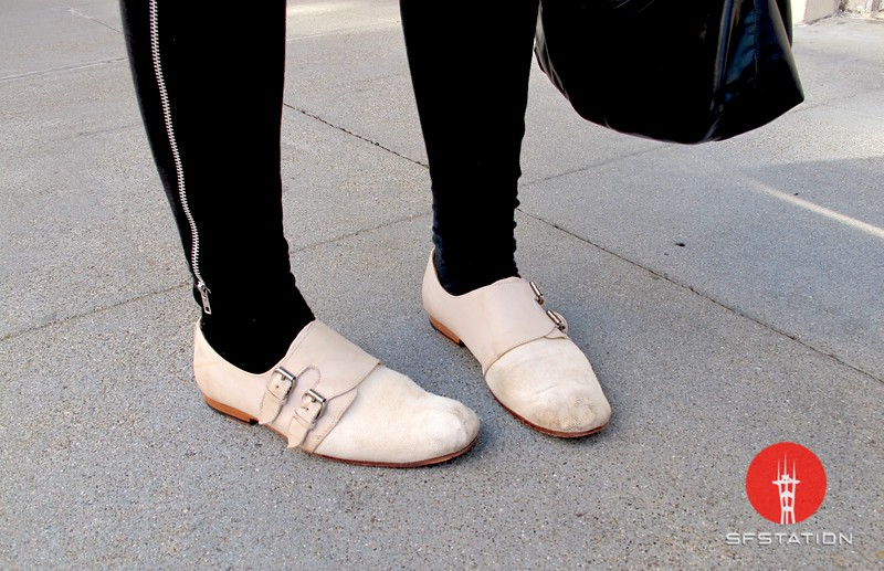 Photo by Lily Ko<br /> <br /> In This Scene:  Jenny Mulder's Rachel Comey shoes. I love Rachel Comey--such solid footwear.  I particularly like this canvas and leather pair with the fun double buckles and androgynous style.