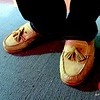 Photo by Lily Ko<br /> <br /> In This Scene:  Cole Haan moccasins style loafers. The mocs must be a trend in mens footwear.