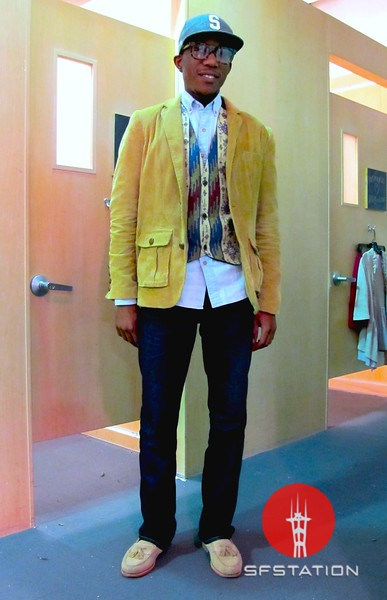 Photo by Lily Ko<br /> <br /> In This Scene:  Trent Wells, workin' it at Urban Outfitters. Wells is wearing a Stussy hat, thrifted vest, shirt and corduroy jacket from Urban Outfitters, Lucky Brand jeans and Cole Haan suede shoes.