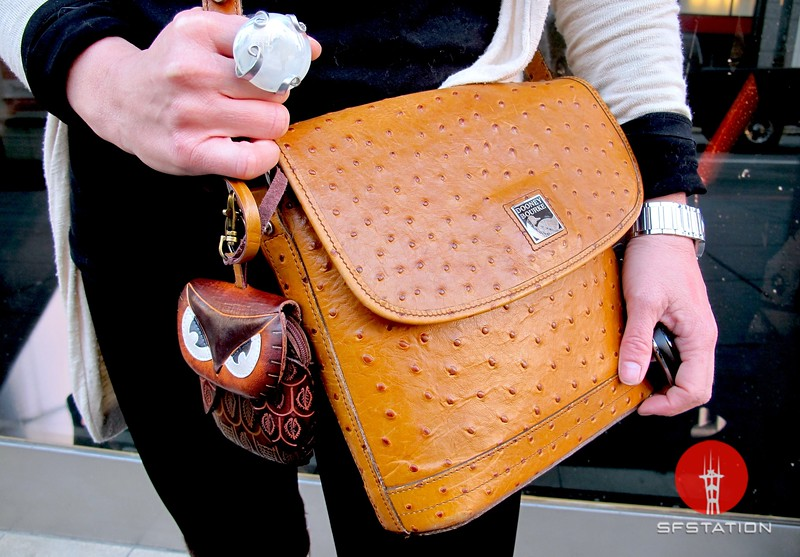 Photo by Lily Ko<br /> <br /> In This Scene:  I love Gigi Ferrozzo's vintage ostrich skin Dooney & Bourke purse--very jealous! She attached this cute little owl coin purse from Therapy in North Beach. Her oversized ring was a find from a street vendor on Market St.