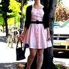 Photo by Lily Ko<br /> <br /> In This Scene: The adorable, perfectly retro Virginia Lenander, a history student at Cal. This is her favorite of a bag full of vintage dresses that were gifted to her in Hawaii. All-black accessories can often be boring, but they work well here because of her vintage look. And, yes, her purse is in the shape of a watering-can--quirky and very cute.