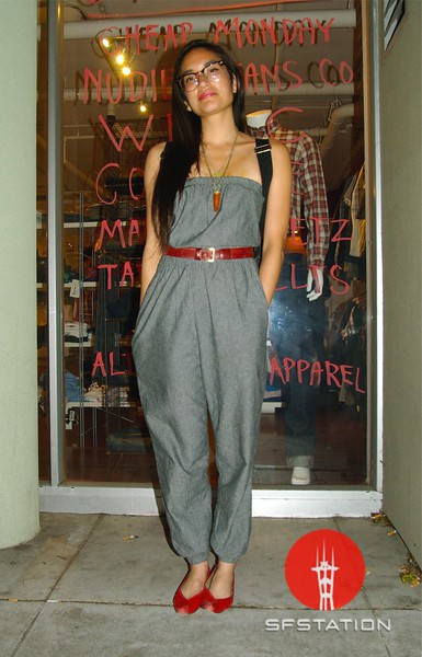 Photo by Lily Ko<br /> <br /> In This Scene: Krista Delosreyes, looking fab in a strapless chambray jumpsuit by American Apparel, and vintage red shoes and belt. Jumpsuits can be a great alternative to dresses in windy SF, but just remember high-waisted will be more flattering. This is a pretty versatile jumpsuit with a nice shape. I can see it looking great with rolled legs and a scarf tied around the neck.