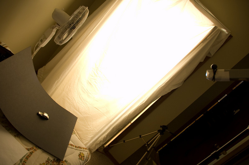 """This the setup, the halogen light is in the closet with a sheet hung in front of the door, this creates a huge """"softbox"""""""