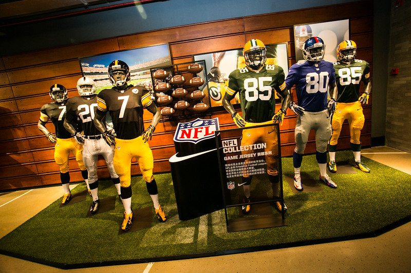 Nike NFL retail display at the Nike Brand Experience store on Huaihai Lu in Shanghai
