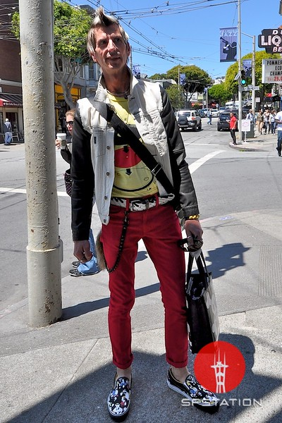 Photo by Monica Hom<br /> <br /> Andre was found shopping at one of his favorite shops, Marc by Marc Jacobs on Fillmore. He tops off his outfit nicely with his colorful Vans, belt and half-denim/half-leather jacket.