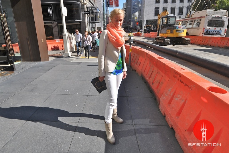Photo by Monica Hom<br /> <br /> Camilla is originally from Holland and loves shopping at Zara. She brightens up her outfit with an orange scarf and a green and blue shirt.
