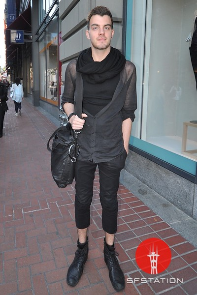Photo by Monica Hom<br /> <br /> Brandon pulls off serious look with his all-black outfit. He works at H&M, but also shops at AllSaints. His favorite thing to wear is his Diesel jeans.