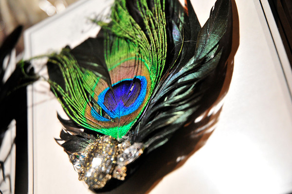 A peacock feather hair piece is displayed at Theatrical Costumes Etc. in Boulder on Tuesday.<br /> Photo by Nick Oxford The Daily Camera June 28, 2011