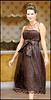SARA--Brown Silk Taffeta Dress with Hand-beaded Tulle 901