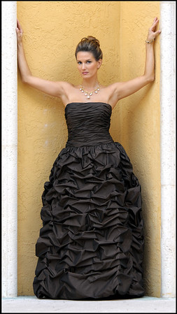 BELLA--Dark Chocolate Silk Taffeta Draped Ball Gown964