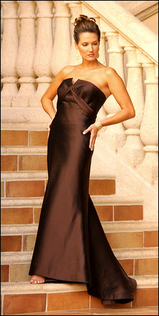AUDREY--Milk Chocolate Silk Wool Gown with Sash on Bodice 483