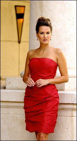 ALMALIA--Red Silk Taffeta Draped-Sleeveless Dress 865 865