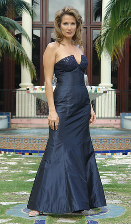 MARCIA--Navy Silk Taffeta Gown with Beaded Lace Bodice
