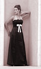 SABINE--Black Satin   Lace Bodice Pleated Front with White Straps & Bow714 Rose Tint