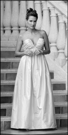 EMMA--Blush Silk Taffeta--Empire Waist Gown with Draped Bodice Grey