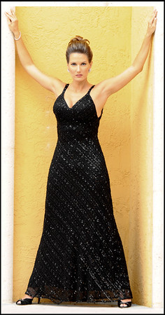 MARLENE--Black Beaded Lace Bias Dress with Halter Neckline