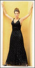 MARLENE--Black Beaded Lace Bias Dress with Halter Neckline