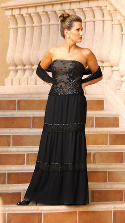 SOPHIE--Black Crinkled Silk Chiffon--Beaded Durndles-Drop-waist Bodice--33