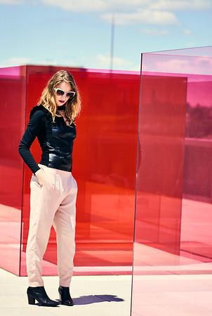 July 16-, 2017- New York, NY - Whitney Museum editorial New York, NY  Photographer: Robert Altman Wardrobe/Creative Director: Nichole Williamson Model: Larissa Baseman ( of We Speak NY Modeling)  Faux leather top - Zara  Credit: Robert Altman