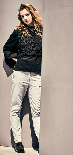 July 16-, 2017- New York, NY - Whitney Museum editorial New York, NY  Photographer: Robert Altman Wardrobe/Creative Director: Nichole Williamson Model: Larissa Baseman ( of We Speak NY Modeling)  Top- Vintage  Necklace- Aldo Slacks- Jones NY  Credit: Robert Altman