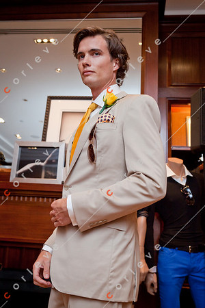 2010 Ralph Lauren Melbourne Spring Racing Carnival Launch - Tan Suit, White Pocket Square (Black Label), White Shirt, Gold Tan Tie, Lace Up Shoes (Polo)