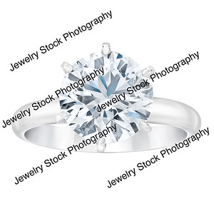 4ct Round 6 Prong Diamond Solitaire Ring Standing