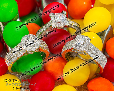 3 Diamond Ring Halo Group with Candies Lifestyle