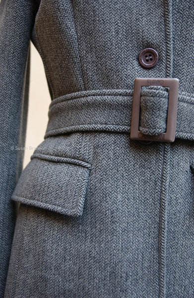 Front and side vintage Italian grey winter coat.