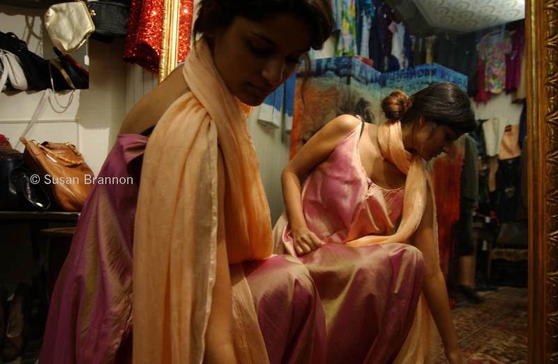 Pink and Orange satin dress