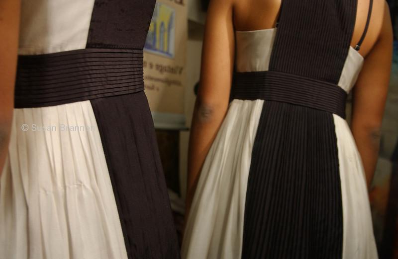 Black and white 100% silk seta dress