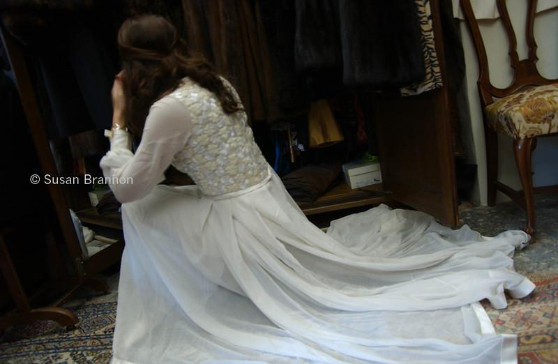 Handmade in France 1965 white wedding dress nesteled in furs, hand embordered top, seta dress