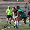 Nashoba player Kate Anderson, in Green, fights for control of the ball with Oakmont player Kaitlynn Paine during action in their match up on Tuesday afternoon at Doyle Field in Leominster. SENTINEL & ENTERPRISE/JOHN LOVE