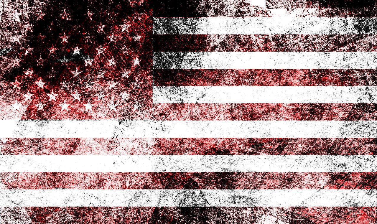 Damaged american flag background.
