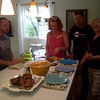My cell phone camera was challenged by the dynamics , but had to include a shot to show the lovely meal Linda prepared.  It was a delicious feast, and so fun to use the new kitchen as we'd envisioned it!