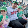 Justin Galvin of Pepperall enjoys a Spinners game on Father's Day with his son's Elijah, 5 (left), and Nathaniel, 7. SUN/Caley McGuane