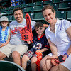 From left, Deanna Lavallee, 7, Chris Lavallee, Matteo Lavallee, 5, and Linda Tanini from Chelmsford enjoy a Spinners game together on Father's Day. SUN/Caley McGuane