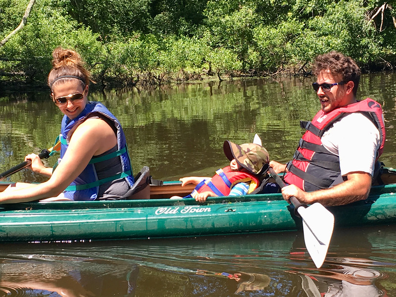 The King family of Billerica -- Julia, Brian and 22-month-old Aaron, enjoyed a Father's Day paddle on the Concord River. Photo by Mary Leach