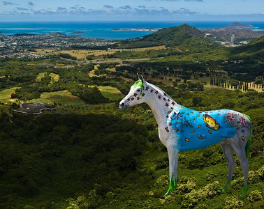 Painted horses on the Nu'uanu Pali Overlook  The wooden horses can be found in front of Sweet Home Waimanalo Restaurant & Gallery. The artist, is Patrick Ching. Patrick repaints them frequently with various whimsical designs