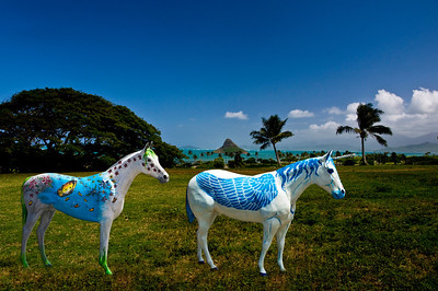 Painted horses overlook the ocean from Kualoa Ranch  The wooden horses can be found in front of Sweet Home Waimanalo Restaurant & Gallery. The artist, is Patrick Ching. Patrick repaints them frequently with various whimsical designs