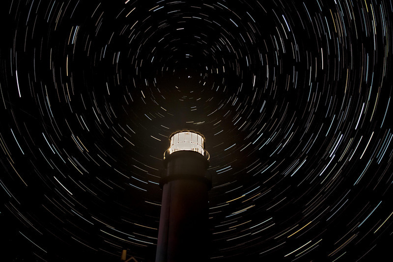 Cape Cod Lighthouse at night - composite time laps.