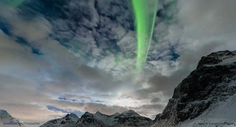 The Moon and a Green Ray. Aurora Borealis (3)