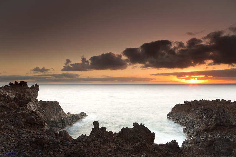 The volcanic coast of La Palma at dawn (HDR).<br /> La Palma island, Canary Islands. Spain.