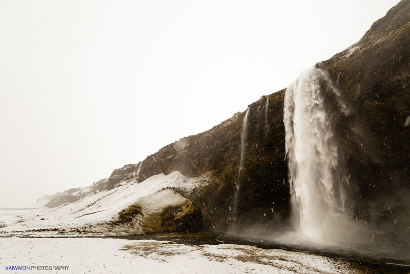 Seljalandsfoss Waterfall. Wild in Winter