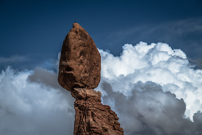 # Arches National Park, # Landscape, #Balanced Rock, #Apparent Floating Rock in Clouds