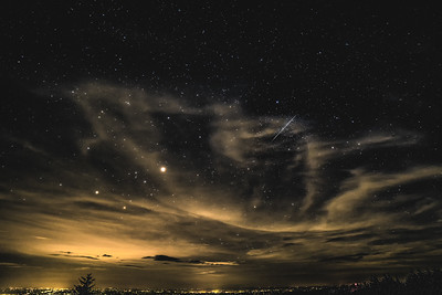 View from Grandfather Mountain with stars and meteor