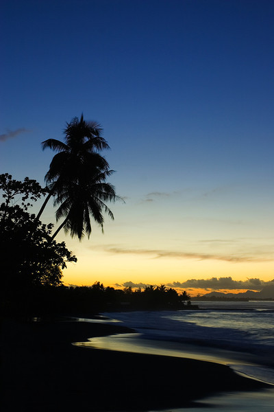 After sunset on black sand beach