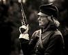 Horse woman Civil War re-enactor