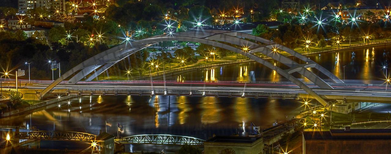 Freddy - Sue Bridge in Rochester  - bright lights