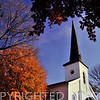 Church in autumn at Lewistown in Fulton County, IL